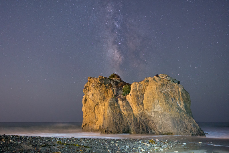 Milky Way rising over rocks at El Matador state beach