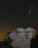 comet Neowise and moonset over Mushroom Rock