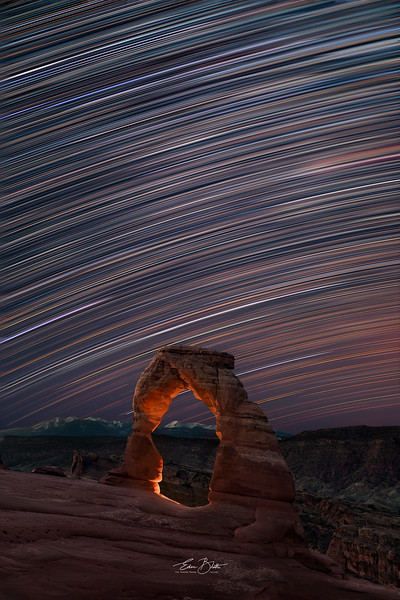 Star Trails over the Delicate Arch, Arches National Park.