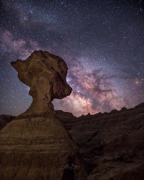 Textures in Soil, Textures in the Sky. Charm of Badlands Night Sky.
