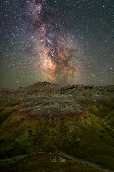Colorful Badlands under the Milky Way.