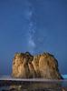Milky Way rising over rocks at El Matador state beach