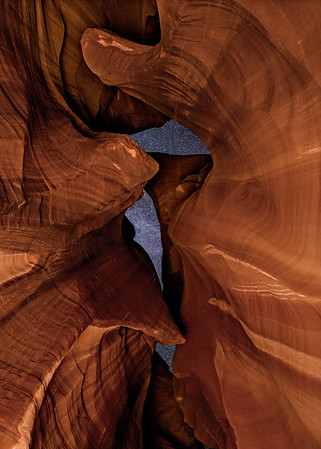 Looking Out of Antelope Canyon at Night