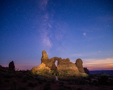 Turret Arch under a fading Milky Way