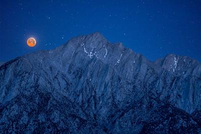 Blood Moon Setting behind Lone Pine Peak
