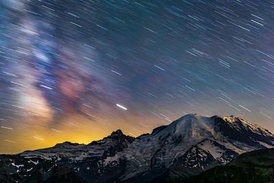 Star Trails over Mount Rainier