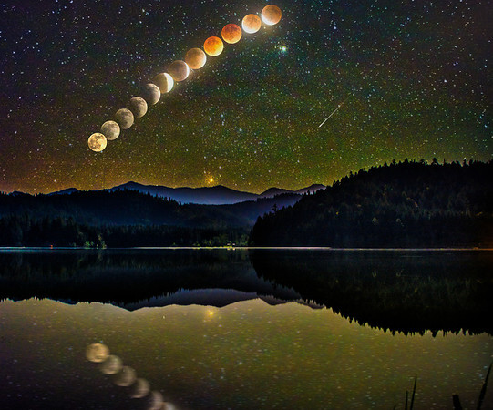 Blood Moon Eclipse Over Lake Selmac, Oregon