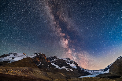 Milky Way over Mount Andromeda at Moonset