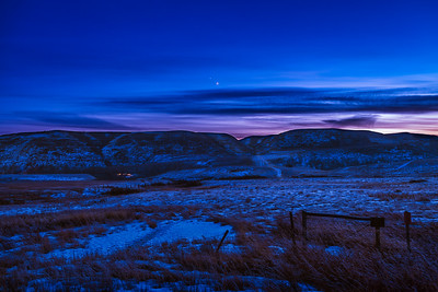 Jupiter and Saturn Over the Red Deer River Valley