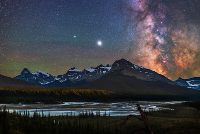 Planets and Milky Way Over Saskatchewan River Crossing