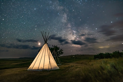 Mars and Milky Way over Tipi at Grasslands