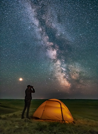 Gazing at the Milky Way in Grasslands National Park (Portait)