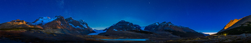 Comet over the Columbia Icefields at Moonset