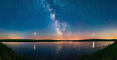 Milky Way and Planets over a Prairie Pond