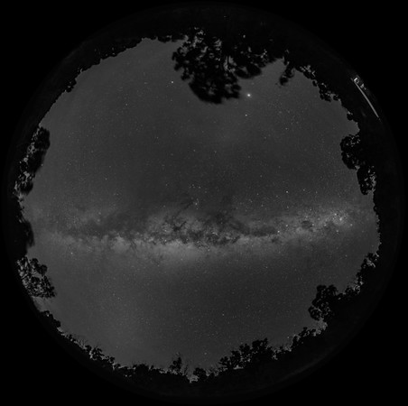 Panorama of the Milky Way Overhead-B&W Naked Eye View