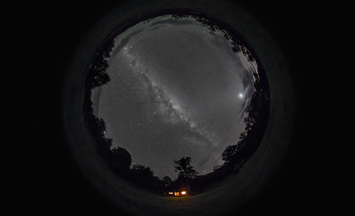 Two Styx Night Sky Panorama (Fish-Eye 2014) - B&W Naked Eye View