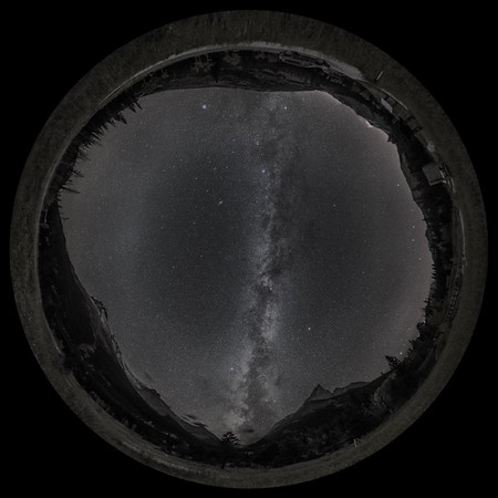 Autumn Milky Way Panorama at Red Rock Canyon - B&W Naked Eye View