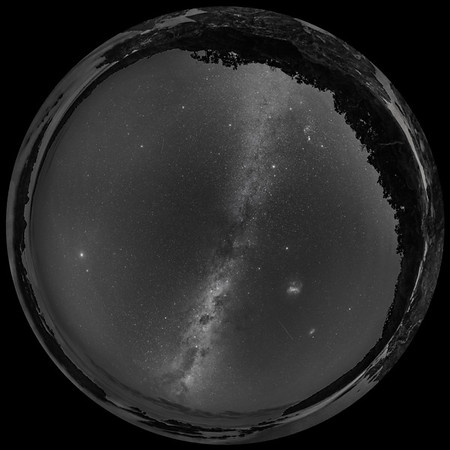 Southern Autumn Sky Panorama (Spherical)-B&W Naked Eye View