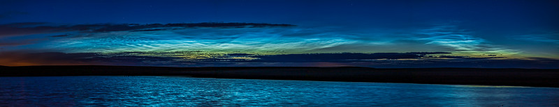 Noctilucent Clouds over Solstice Pond (June 7-8, 2020)