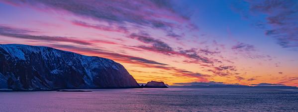 Sunset Over the Sea Cliffs of Finnkirka, Norway
