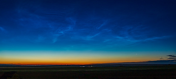 Comet NEOWISE at Dawn with Noctilucent Clouds (July 5, 2020)