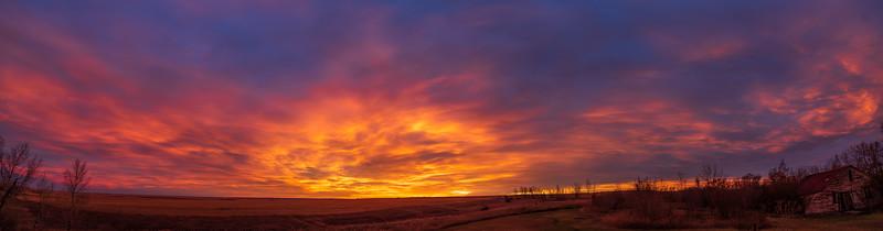 Prairie Sunrise Clouds Panorama