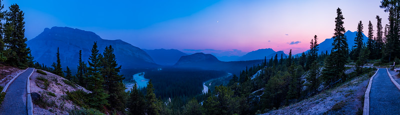 Smoky Sunset Panorama over the Bow Valley