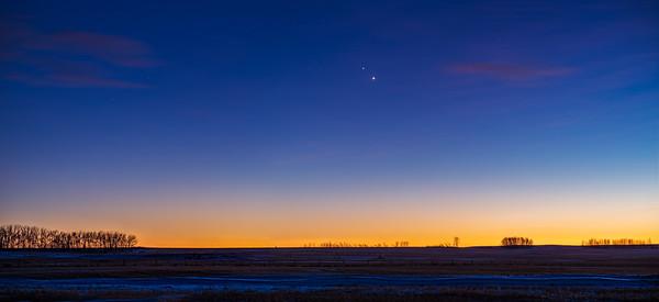 Jupiter and Saturn in Twilight Panorama