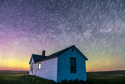 Star Trails over Pioneer Homestead at Dusk