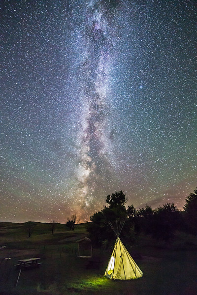 Tipi and Milky Way at Grasslands Park