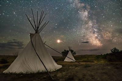 Mars and Milky Way over Tipis at Grasslands