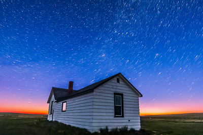 Star Trails over Pioneer Homestead at Dawn