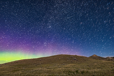 Stars, Satellites, Aurora and a Perseid