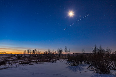 A Busy Morning Sky with the Moon, Planets and ISS