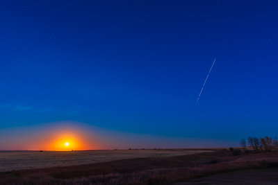 ISS Passage with Moon and Mars Rising