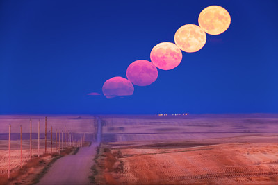 Harvest Moonrise over Country Road