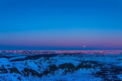 Cold Moon Rising over Dinosaur Park