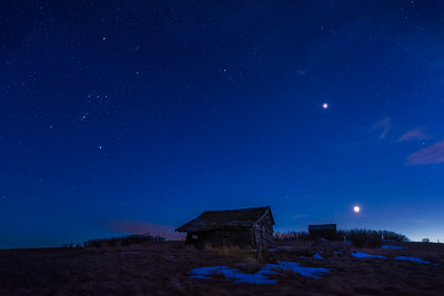 Moon, Venus and Orion over the Old Shed