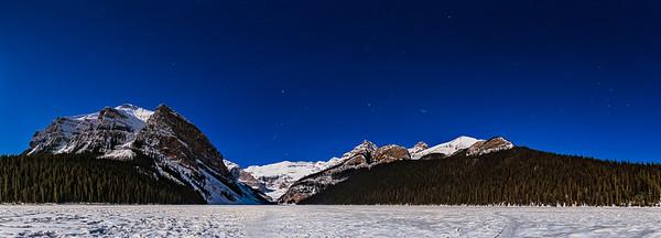 Lake Louise Panorama by Winter Moonlight