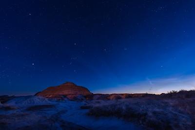 Winter Sky Setting in Twilight at Dinosaur Park