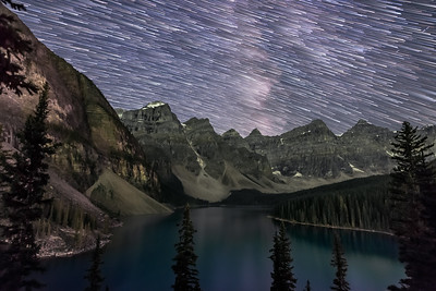 Star Trails over Moraine Lake
