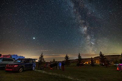 Alberta Star Party 2021 - Group at Dobsonian