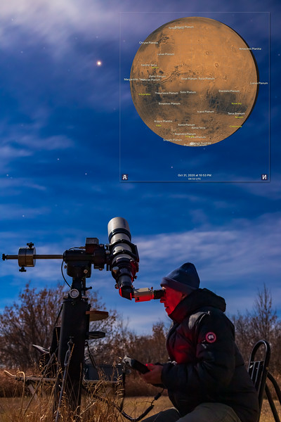 Observing Mars on Halloween Night (with Mars Map)