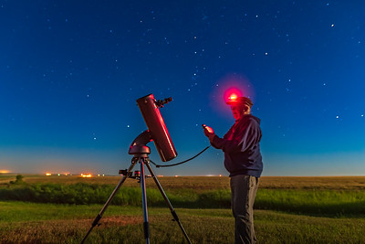 Selfie with Orion StarSeeker Telescope with Hand Controller