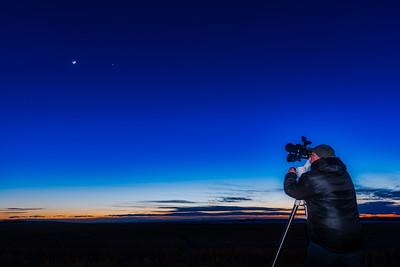 Selfie with Binoculars Looking at Moon (Feb 27, 2020)