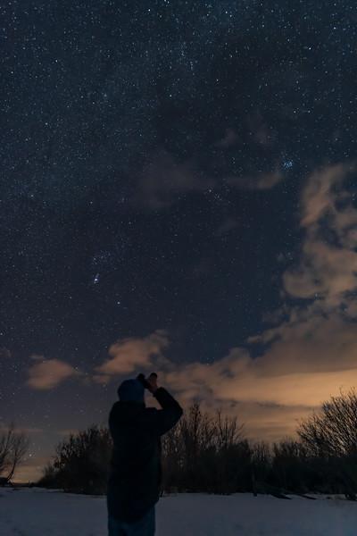 Selfie with Binoculars in the Backyard in January #3