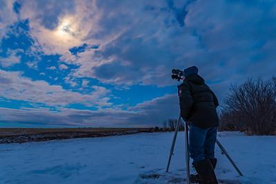 Selfie with Binoculars on Tripod (Standing)