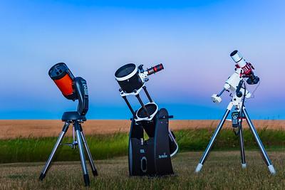 Telescope Trio in Twilight