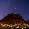 Orion and the Car's Highbeams Light Up The Mountian