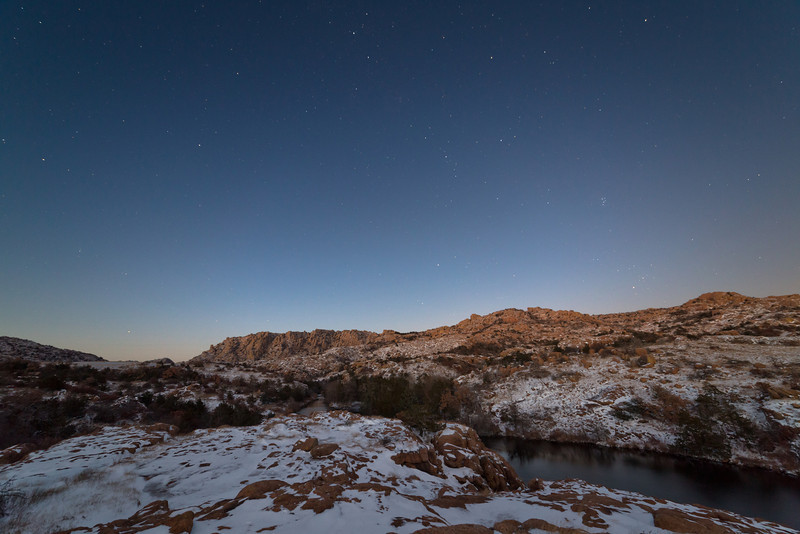 Twilight fades over Charon's Garden Wilderness in the Wichita Mountains of southwest Oklahoma following a moderate snowfall.